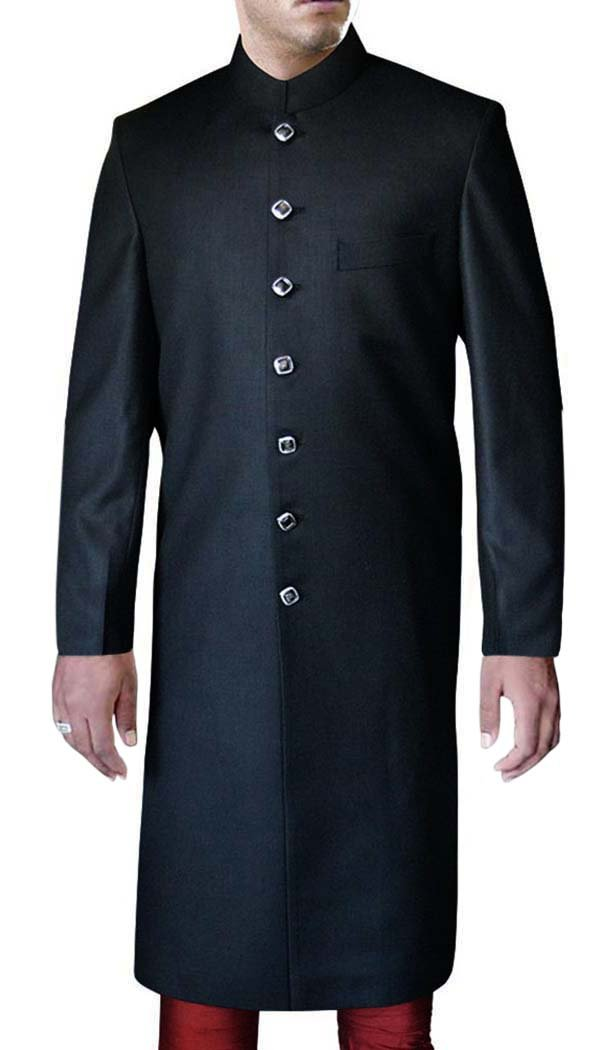 INMONARCH Mens Black Polyester 2 Pc Wedding Sherwani SH437S34 34 Short Black