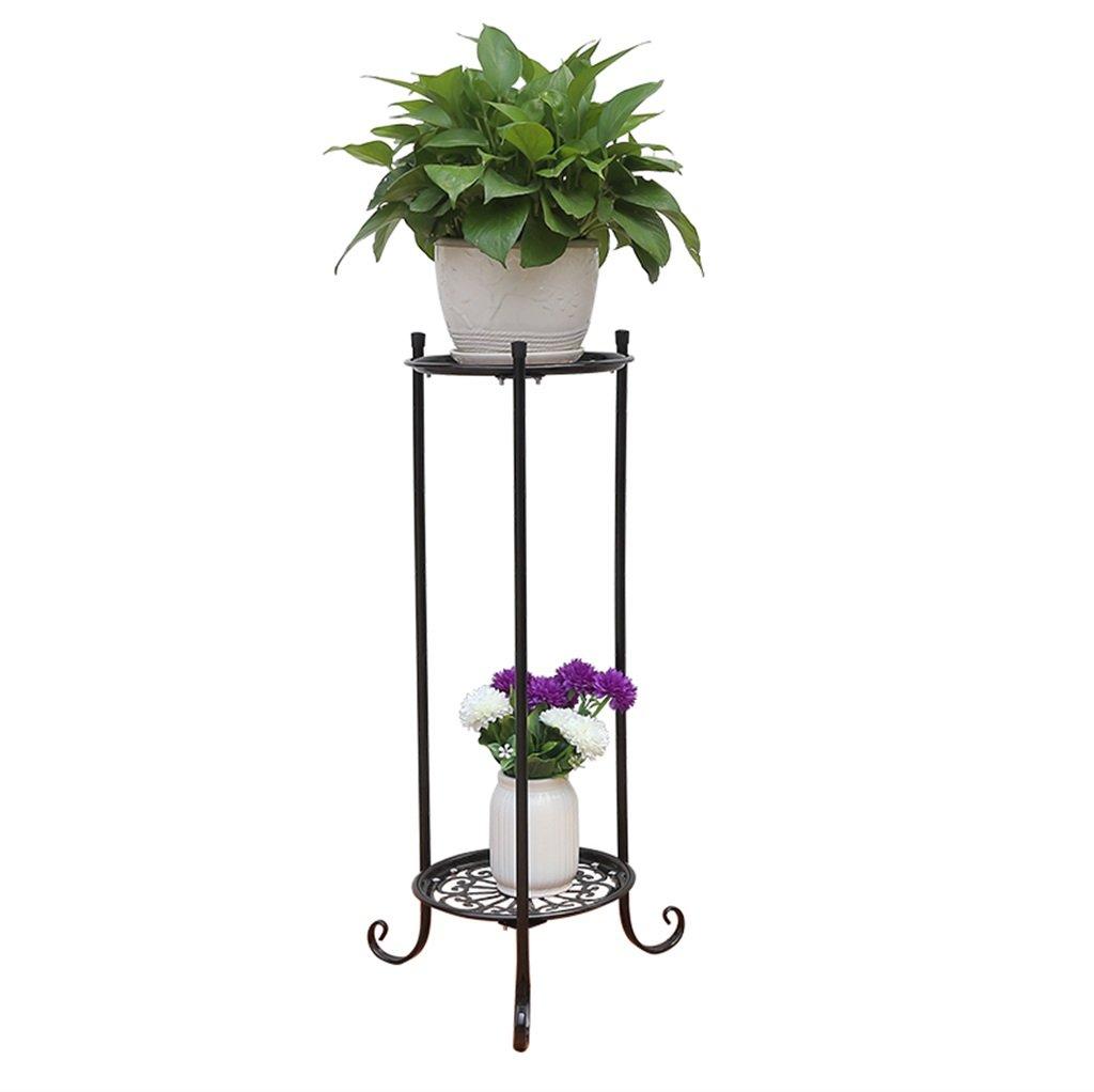 FZN Simple fleur en métal Racks intérieur et extérieur salon Balcon Décoration 2 étagères Flower Flower Table Racks Pots de fleurs (Couleur : Noir, taille : Height 60cm)
