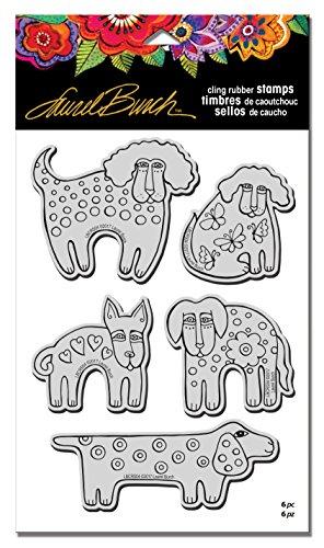 Stampendous LBCRS04 Laurel Burch Rubber Stamp Set, Dog Park W/Template Laurel Burch Stamps Dog Park - Laurel Park Stores