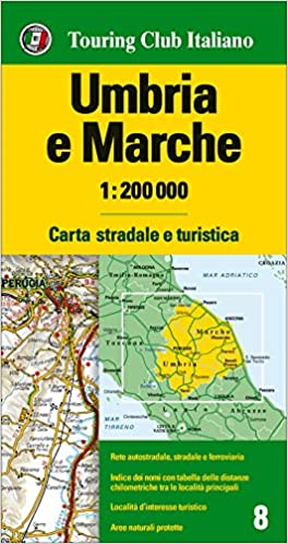 Road Map Of Italy In English.Umbria And The Marches Italy Road And Tourist Map English