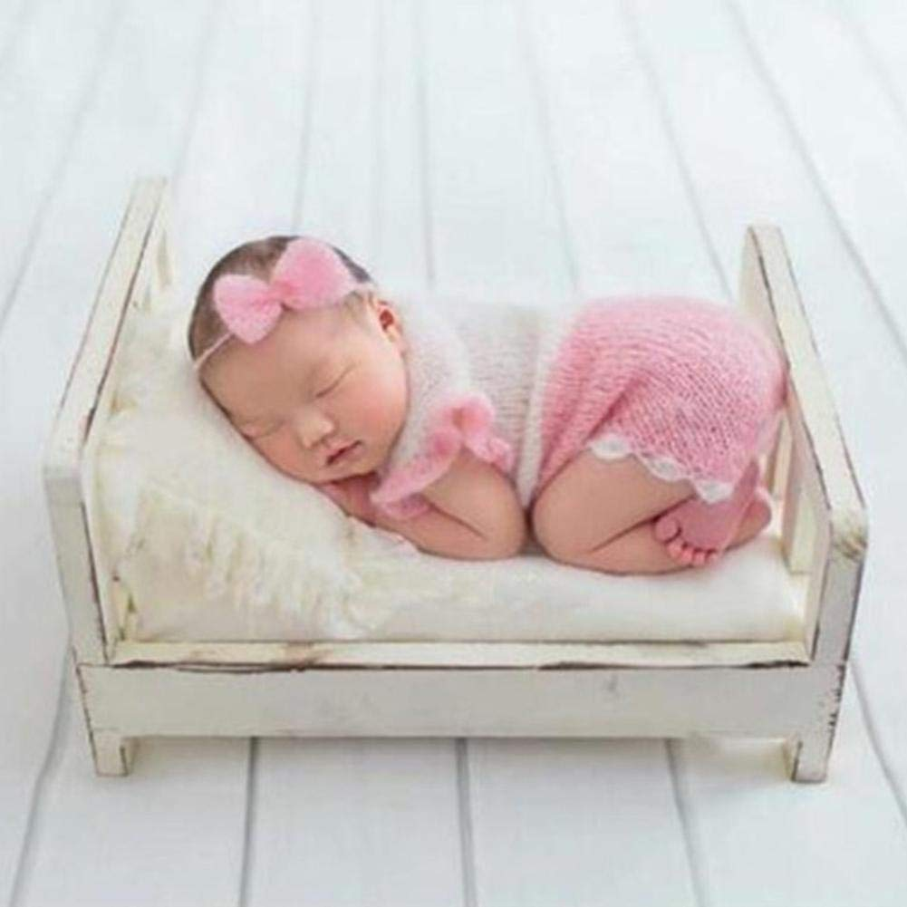 16.53x11.2x8.46in Newborn Photography Props Small Wooden Bed Baby Posing Sofa Props Baby Photo Props Mini Bed for Baby Girls Boys by Light-Ren
