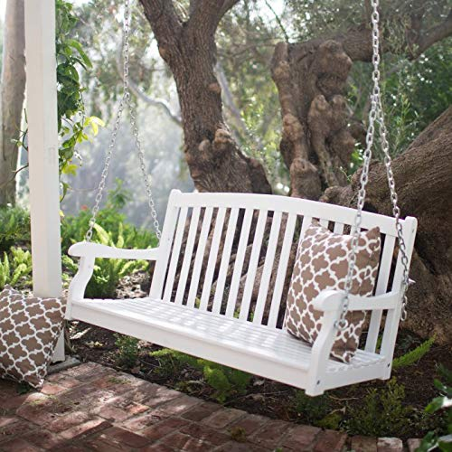 Traditional White Wood Porch Swing 2 Person 4 Foot Curved Back Slatted Outdoor Porch Furniture