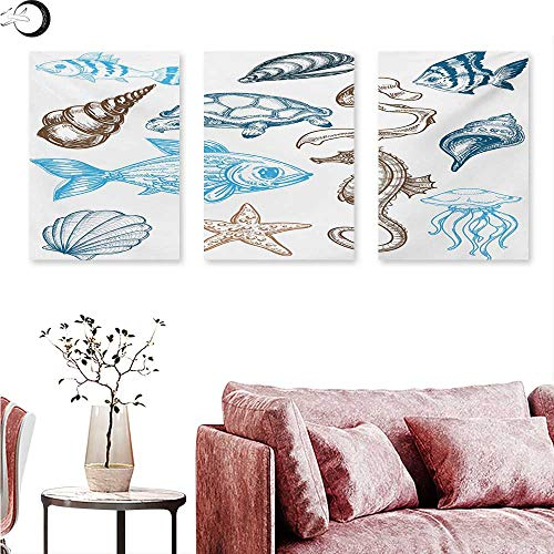 (Anniutwo Doodle Wall Art Oil Paintings Underwater Marine Life Aquatic Fish Shell Jellyfish Oyster Squid Seahorse Motif Wall Panel Art Dark Blue Cocoa W 24