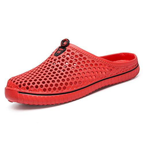 Sunyastr Unisex Comfortable Walk Garden Shoes Casual Hollow Out Slippers Quick Drying Sandals Summer Anti-Slip Beach Shoes Red