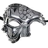 Ubauta Steam Punk Phantom of The Opera Vintage Masquerade Venetian Luxury Men Face Mask   Party, Fancy Ball, Prom, Mardi Gras, Wedding, Wall Decoration (Silver)