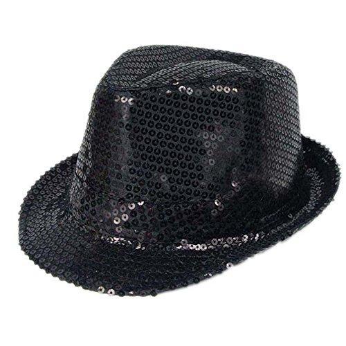 Black Sequin Fedora (Elee Unisex Kids Sequins Trilby Fedora Cap Jazz Dancing Hat Performance Props (#2)