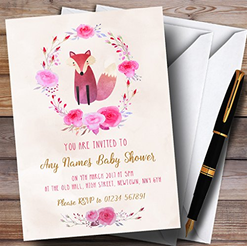 Pink Watercolour Fox Girls Invitations Baby Shower Invitations