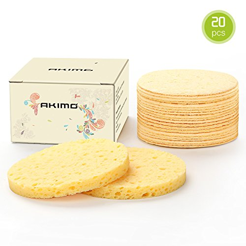Facial Sponges - Akimo 100% Natural Compressed Cellulose Face Scrub Puff, Reusable Odorless Deep Cleansing and Soft Exfoliating Pads, Bigger Size (2.99