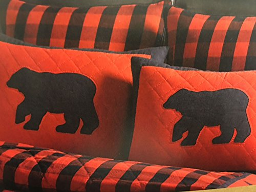 Buffalo Check Collection Standard Pillow Sham, Applique Bear - Check Standard Pillow Sham