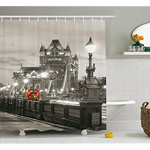 Incroyable Ambesonne House Decor Shower Curtain, London Themed Decor Tower Bridge In  The Famous City Urban Life Scenery European Picture, Fabric Bathroom Decor  With ...