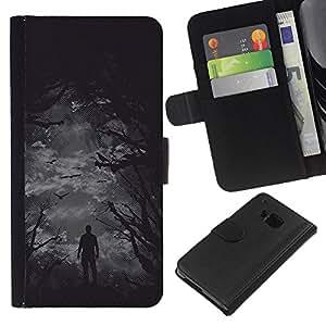 Protector de cuero de la PU de la cubierta del estilo de la carpeta del tirón BY RAYDREAMMM - HTC One M9 - Aves Scarry Bosque Oscuro