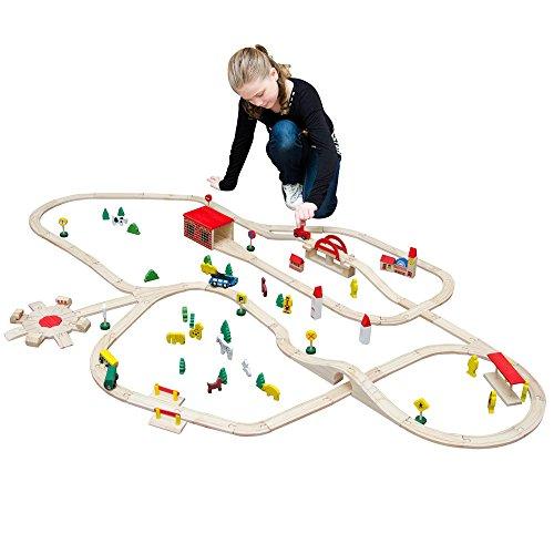 12476 Holzeisenbahn 210x130 cm über 8m Schienen mit vielen Extras; Brio Eichhorn Thomas IKEA kompatible Holzeisenbahn