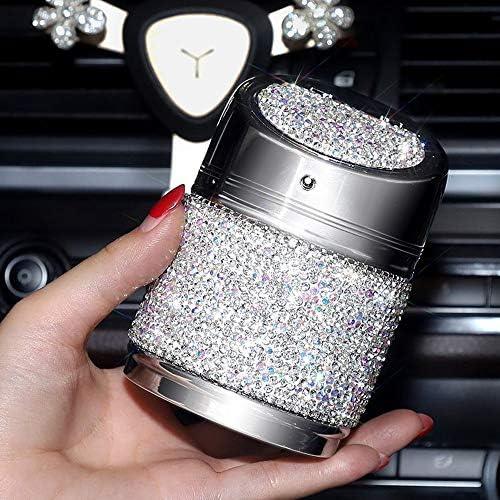ブリンブリンクリスタル耐火ステンレス蓋とほとんどの車無煙のためのクールなブルーLEDライトインジケータポータブルフィットとダイヤモンドの車の灰皿は、シリンダーの車のカップホルダースタンド,白