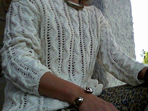 bc5272c9c07a Jersey blanco de verano,tejido a mano, para mujer o chica, talla S-M ...