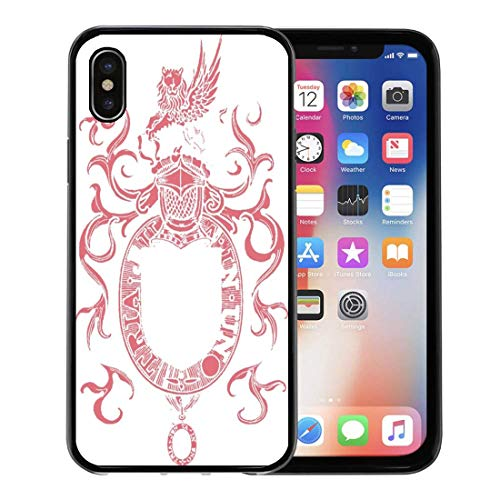 Emvency Phone Case for Apple iPhone Xs Case/iPhone X Case,Clans Crest Family Shield Arms Heraldry Ages Badges Cherry Soft Rubber Border Decorative, Black ()