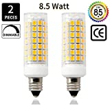#8: E11 LED Light Bulb 8.5W , 70W or 100W 110V/120v/130v Halogen Bulbs Equivalent Mini Candelabra jd E11 Base T3/T4 LED Bulb dimmable for Ceiling Fan, Indoor Lighting-2packs (Warmwhite)