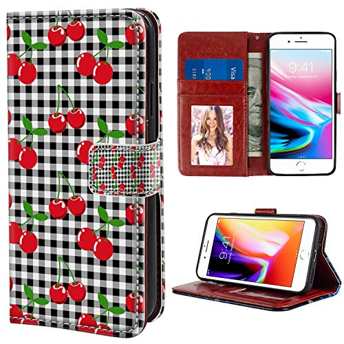 YaoLang iPhone 7/8 Plus Wallet Case, Plaid Cherry PU Leather Standable Wallet Phone Case with Card Holder Magnetic Hold for iPhone 7/8 Plus