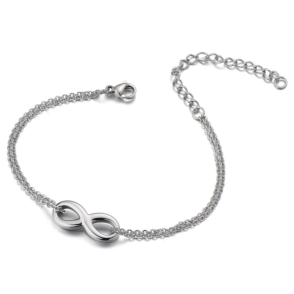 Stainless Steel Double Chain Anklet Bracelet with Infinity Love COOLSTEELANDBEYOND FA-26-CA