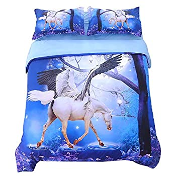 Image of Alicemall 3D Unicorn Bedding White Unicorn Wings 5 Pieces Blue Comforter Set , Full Horse Bed Comforter Set (2 Pillowcases, Flat Sheet, Comforter, Duvet Cover) (Full, Blue) Home and Kitchen