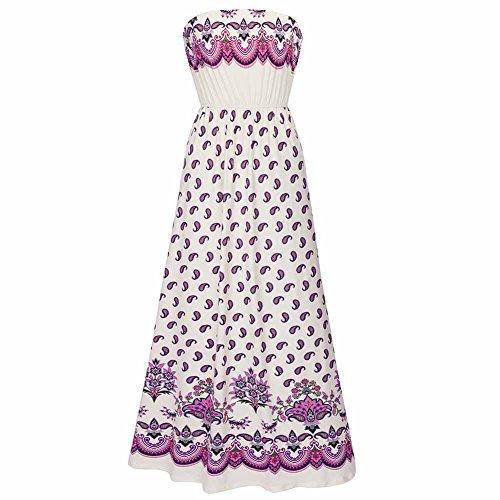 Eastlion Women's Printing Boob Tube Strapless Dresses Long Dress Beach Dresses,Color 3 XXL (Strapless Dress Xxl)