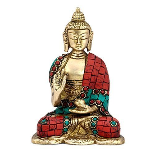 AapnoCraft Thai Ancient Buddha Meditating Statue Earth Touching Turquoise Sculpture/Figurine Buddhism Gifts & Decoration