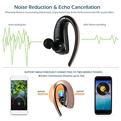Bluetooth Headset Stereo Music Bluetooth Earphone Wireless Headphone Voice Command with Microphone for Android IOS iPhone 7 6 Plus 5S LG Samsung S8 Plus S7 S6 S5 Tablets and Other Bluetooth Devices by TopePop (Image #2)