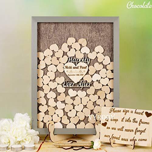 - DWYHH Wedding Drop Box Guest Book Sign Idea Gray Wedding Guestbook Alternative Happily Ever After Wedding Shadow Box Wooden Heart Guest Book Frame