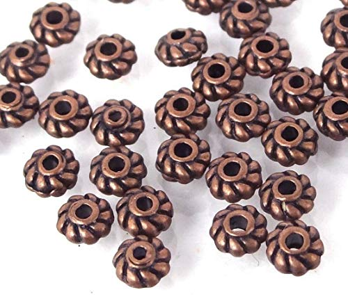 - 50 Antique Copper Pewter Ribbed Rondelle Twisted Lantern Spacer Beads 4x2mm