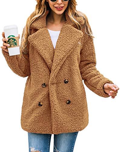Winter Hugs Bear - PRETTYGARDEN Women's Warm Long Sleeve Lapel Open Front Button Draped Fleece Coat Fluffy Outwear with Pockets