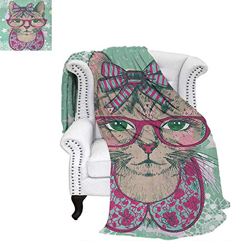 Joydad Cat Cotton Blanket Fashion Cat in Hipster Glasses and Lace Collarette Bow Vintage Humorous Graphic Sand Free Beach Blanket 70 x 60 inchPink Mint Green