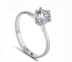 Lady Ring 18K White Gold GP Austrian Crystal AAA Zircon Charm Band Engagement Ring