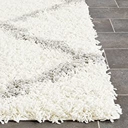 Safavieh Dallas Shag Collection SGD257F Ivory and Grey Area Rug, 5 feet 1 inches by 7 feet 6 inches (5\'1\