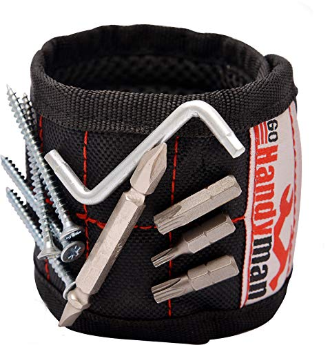 Magnetic Wristband for Holding Tools and Screws – with Strong Magnets, Lightweight, Adjustable Wristband to Hold Drill Bits and Nails – Convenient Solution for Professional and Home Use by Go Handyman