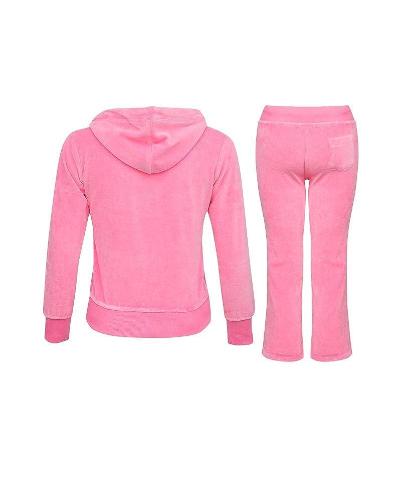 Shelikes Girls Kids Velour Velvet Zip Hoodie Pants Tracksuit Sport Sweat Suit Set