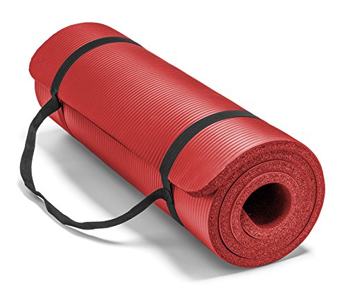 Spoga Premium Extra Thick 71-Inch Long High Density Exercise Yoga Mat with Comfort Foam and Carrying Straps, Red - Comfort Foam Mat
