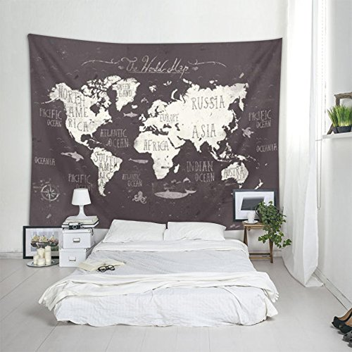 """Map Tapestry Wall Hanging – Polyester Fabric Wall Decor for bedroom (60""""H x 80""""W, Black World Map) (Iron World Map)"""