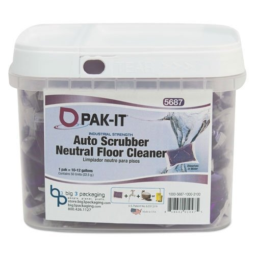 - PAK-IT Auto-Scrubber Neutral Floor Cleaner, Citrus Scent, 50 PAK-ITs/Tub by PAK-IT