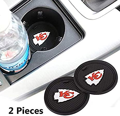 2.75 Inch Team Logo Anti Slip Silicone Car Coasters Fit All Vehicles 2pcs Kansas City Chiefs Car Cup Holder Mats for NFL Fans