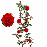 Greentime Artificial Flowers Velvety Rose Garland Vine 6 Feet Hanging Ivy Plants for Home Party Wedding Garden Decor, Red