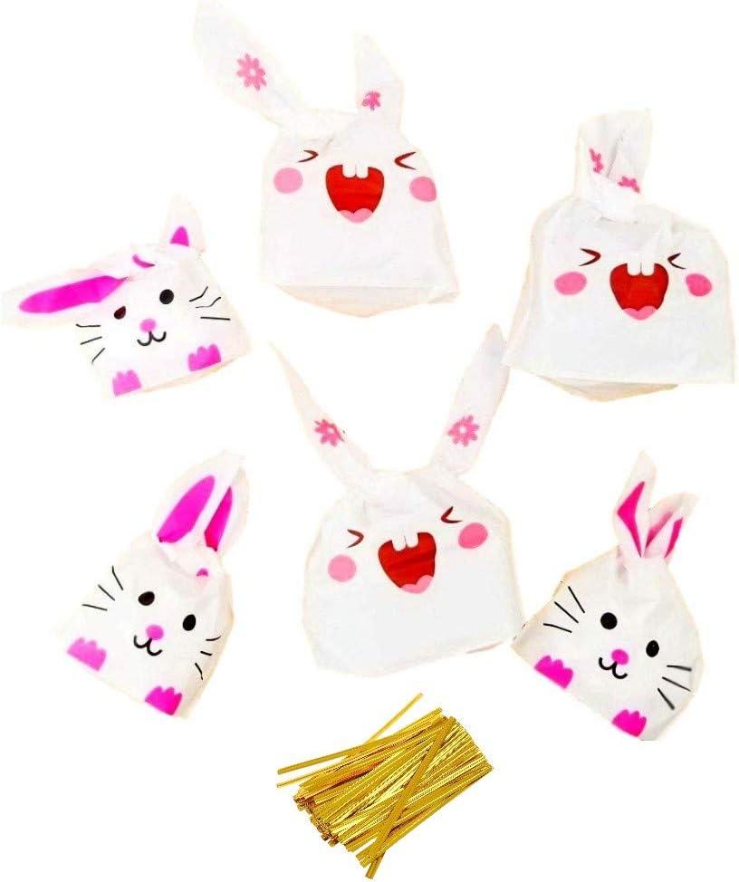 JZK 100 Lapin Oreille Parti Traiter Sacs Petits Sacs sucr/és pour Bonbons Cookie Bonbons Biscuit Sac Cadeau Wrap Sac pour Enfants f/ête faveurs Enfants Anniversaire Sac de f/ête