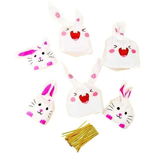 JZK 100 x Bolsas Regalo cumpleaños de plástico Forma de Conejo para Confeti merienda carameros Galleta piscolabis Frutos Secos Caramelos Chocolate