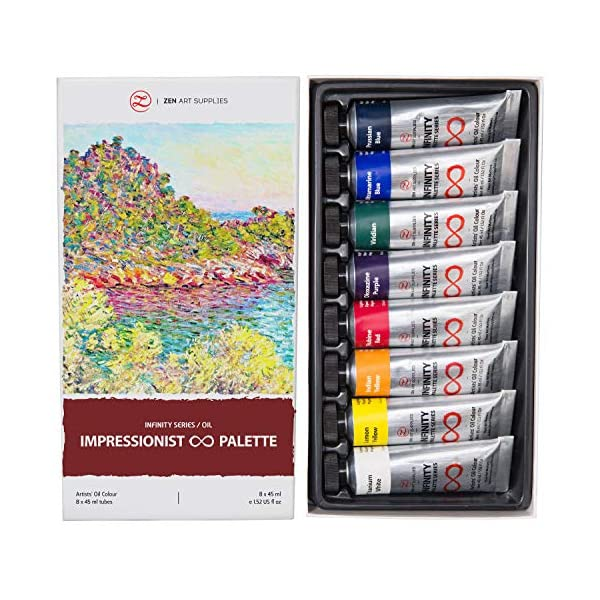 Oil-Paints-for-Artists-8-x-Large-45ml-Tubes-Impressionist-Palette-of-Eco-Friendly-Non-Toxic-Lightfast-Paint-with-Exceptional-Pigment-Load-The-Infinity-Series-by-ZenART