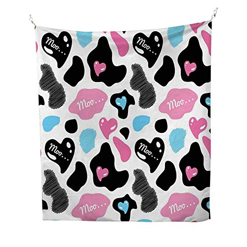 Cow PrinttapestryCow Hide with Hearts Moo Barnyard Love Valentines Abstract Design 40W x 60L inch Wall tapestryLight Pink Black White