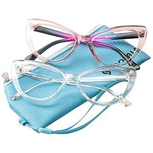 SOOLALA Womens Oversized Fashion Cat Eye Eyeglasses Frame Large Reading Glasses, PinkTrans, +2.0D