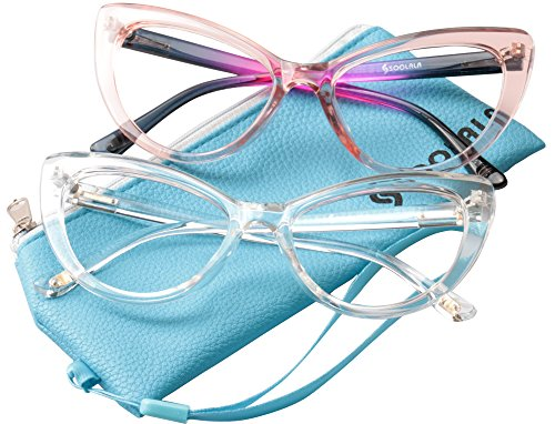 SOOLALA Womens Oversized Fashion Cat Eye Eyeglasses Frame Large Reading Glasses, PinkTrans, +1.75D