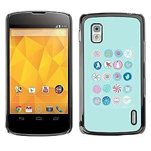 Be Good Phone Accessory // Dura Cáscara cubierta Protectora Caso Carcasa Funda de Protección para LG Google Nexus 4 E960 // Blue Birds Candy Kids Minimalist Pattern