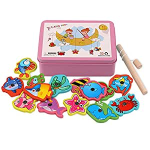 Opla3Ofx Puzzle Toy Magnetic Fishing Catching Bugs Set, Baby Bath Fun Floating Toys Fishing Game With Cute Fish And Fishing Rod Pink