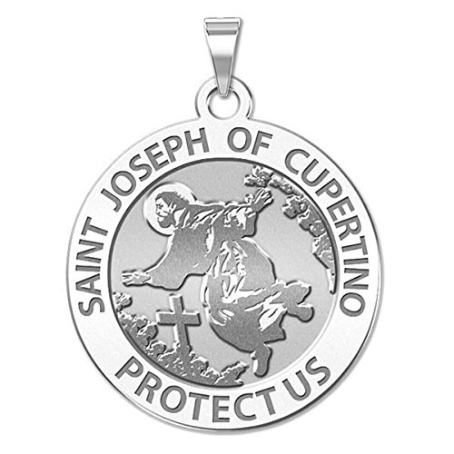 Custom Engraved Saint Joseph of Cupertino Religious Medal 10K And14K Yellow or White Gold, or Sterling Silver