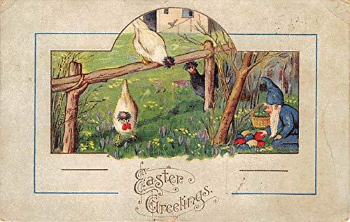 Elves Post Card Easter Greetings Postal Used Unknown