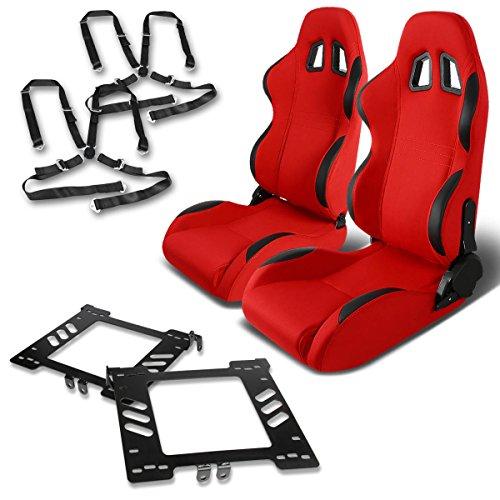 For VW Jetta/Golf/Beetle Mk4 Pair of Black Trim PVC Racing Seats (Red)+Seat Bracket+4-Point Camlock Black - Beetle Belt Seat
